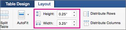 Mac 版 Office [資料表設計] 索引標籤