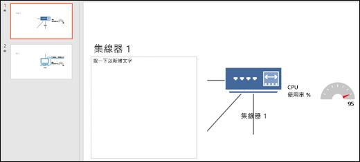 含有標題和投影片圖形的 PowerPoint 投影片的螢幕擷取畫面。