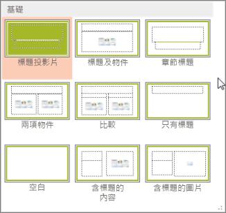 PowerPoint 中的投影片版面配置