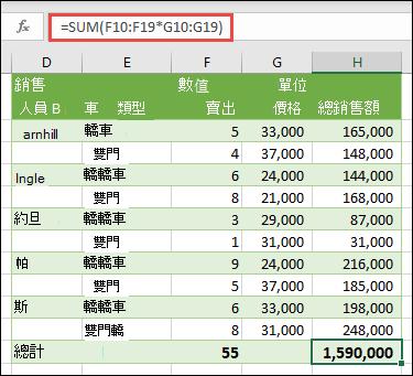 單儲存格陣列公式,用於計算總和 = SUM 的總計(F10: F19 * G10: G19)