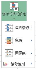在 Excel Online 中的條件化格式設定] 功能表