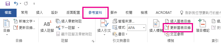 位於 [參考資料] 索引標籤中的 [更新表格] 命令。