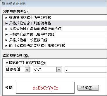 以紅色文字顯示小於 0 之數字的條件化格式