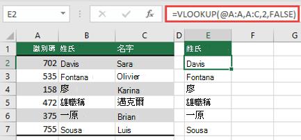 使用 @ 運算子,然後複製: = VLOOKUP ( @A: A、A:C、2、FALSE) 。 這個參照樣式將在表格中運作,但不會傳回動態陣列。