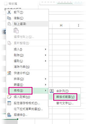 右鍵功能表上的 [表格] 選項