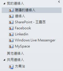 功能窗格中的 [建議的連絡人] 資料夾