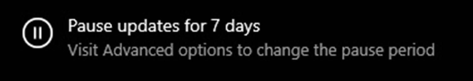 Select Pause updates for 7 days