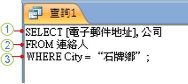 顯示 SELECT 陳述式的 SQL 物件索引標籤