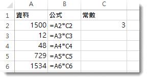 欄 A 中的資料,欄 B 中的公式,以及儲存格 C2 中的數字 3