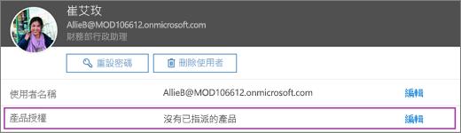 螢幕擷取畫面顯示 Allie Bellew 使用者的使用者資訊。產品授權區域顯示該使用者未獲任何產品授權,且編輯選項可供使用。