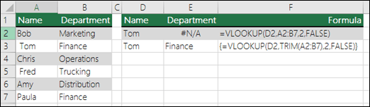 在陣列公式中搭配 TRIM 使用 VLOOKUP 以移除前置/後置空格。儲存格 E3 中的公式是:{=VLOOKUP(D2,TRIM(A2:B7),2,FALSE)};必須按下 CTRL+SHIFT+ENTER 來輸入。