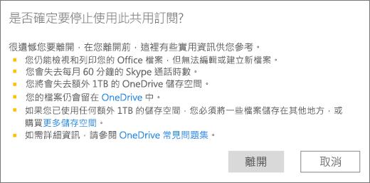 當您停止使用別人與您共用的 Office 365 家用版訂閱時顯示的確認對話方塊螢幕擷取畫面。