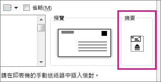 摘要圖表會顯示如何將信封插入指標
