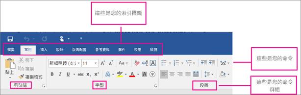 圖片顯示功能區的各個部分: 索引標籤、 群組的命令] 命令