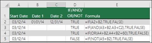 使用 IF 搭配 AND、OR 及 NOT 以評估日期的範例