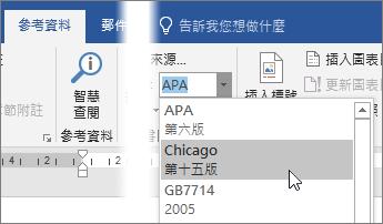 在 [參考資料] 索引標籤上,請從 [樣式] 清單選擇引文樣式