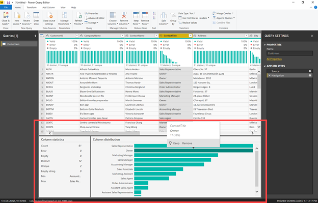 Power Query 編輯器底部的資料分析選項