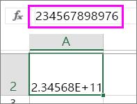 當數值為 12 位數以上時顯示為指數