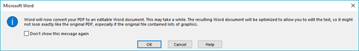 Word 中,向您確認它會嘗試開啟 PDF 檔案的自動重排。
