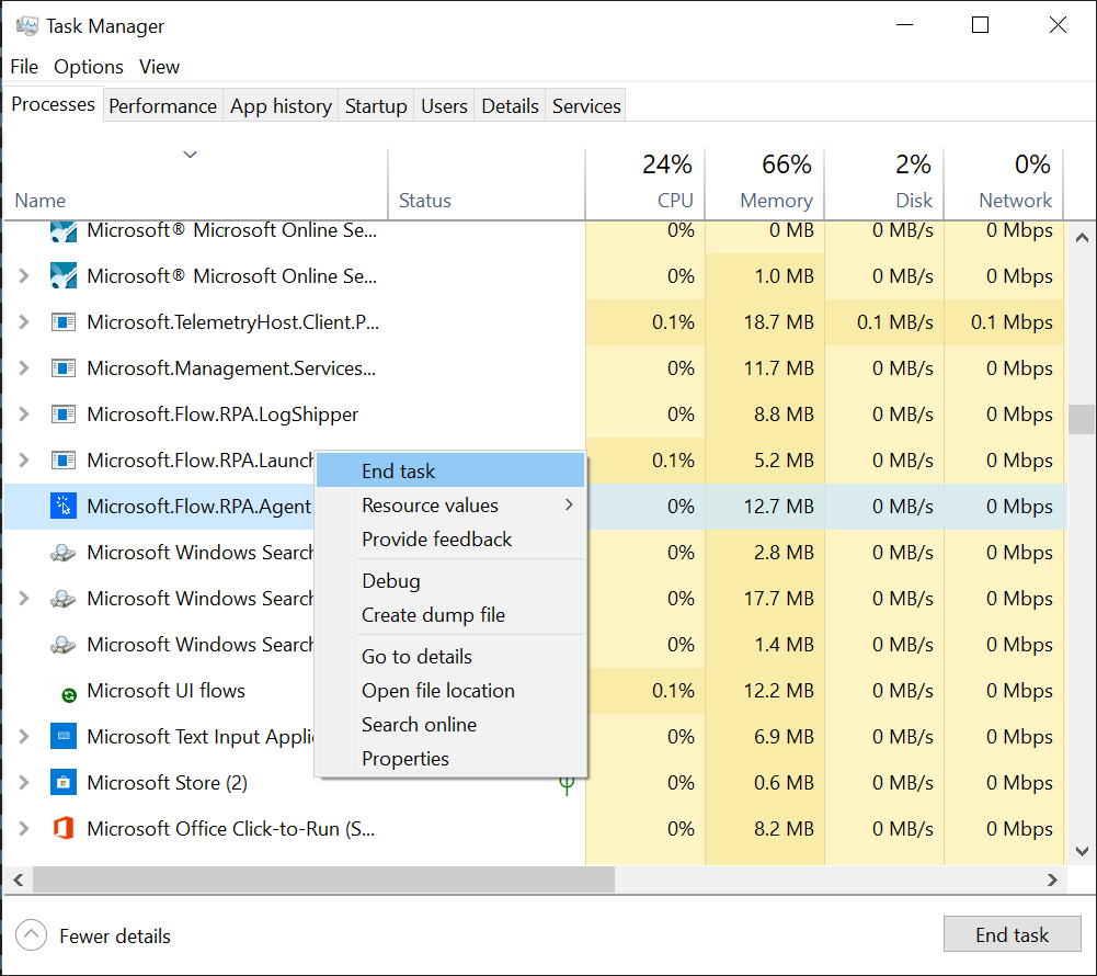 RPA Agent process in task manager screenshot