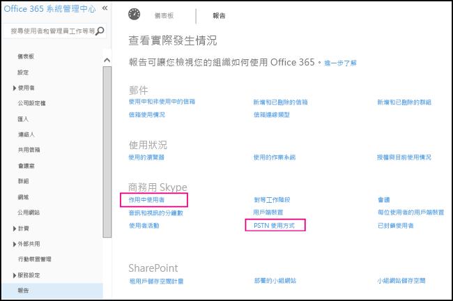 商務用 Skype PSTN 消費報告。