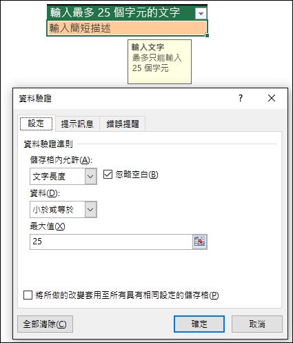 限制文字長度的資料驗證範例