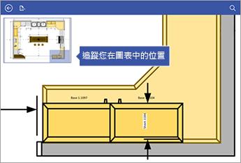 畫面左上角的全景視窗能協助您了解自己在圖表中的位置。