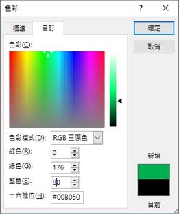 顯示自訂色彩