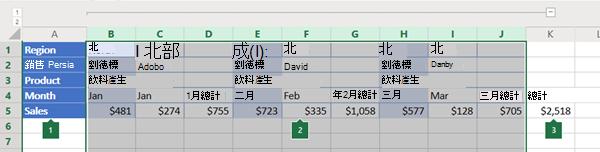 Excel Online 中欄的大綱
