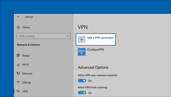 The location of the Add A VPN Connection button in Settings