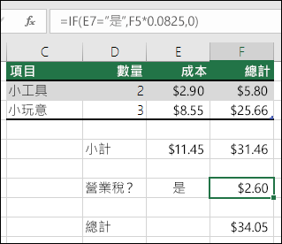 """儲存格 F7 中的公式是 IF(E7=""""Yes"""",F5*0.0825,0)"""