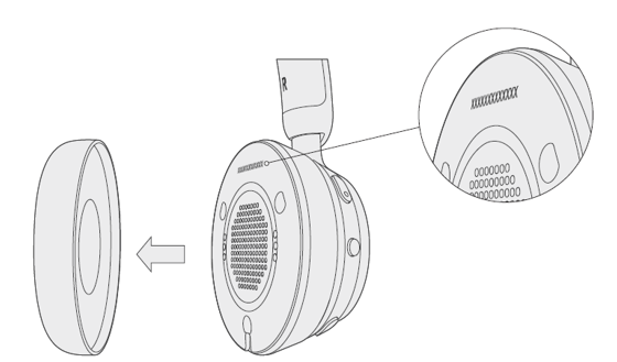移除耳罩的 Microsoft 無線 USB 耳機