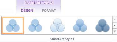[SmartArt 工具] 的 [設計] 索引標籤上的 [SmartArt 樣式] 群組