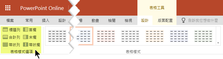 您可以在表格中的某些列或欄新增網底樣式。