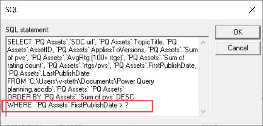 MS Query 的 SQL 視圖,強調 WHERE 子句