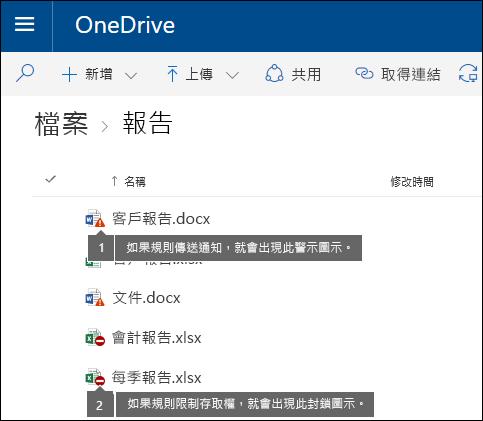OneDrive 帳戶中的文件的原則提示圖示