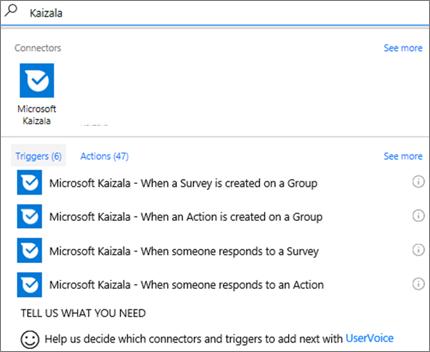 螢幕擷取畫面: 輸入 Kaizala,,然後選取 Microsoft Kaizala – 當某人回應問卷