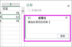 新增或編輯註解所在的 [註解] 窗格