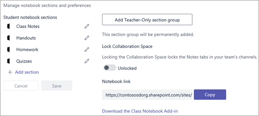 在 Microsoft Teams 中管理課程筆記本設定