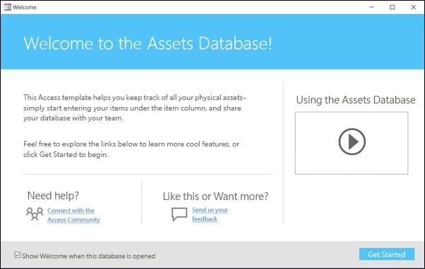 Access 資產資料庫範本中的 [快速入門] 表單