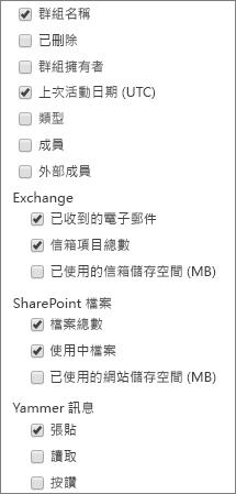 office 365 群組報告 - 選擇欄