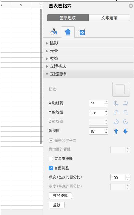 [圖表區格式] 窗格
