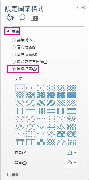 在 [格式化圖案] 窗格中選取 [圖樣填滿