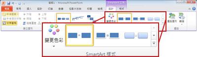 [SmartArt 工具] 底下的 [設計] 索引標籤