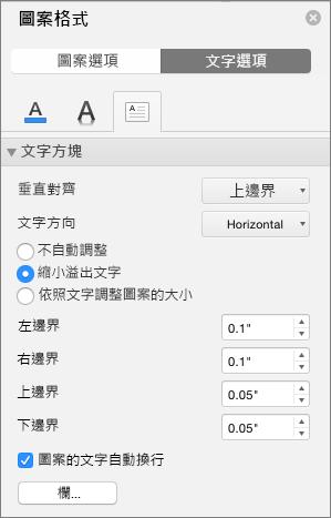 [格式化圖案] 窗格中的 [文字方塊] 選項