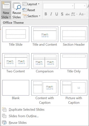 PowerPoint 中的投影片類型。