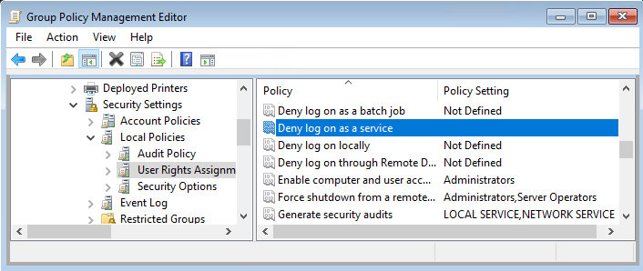 UIFlowService check deny log on as a service group