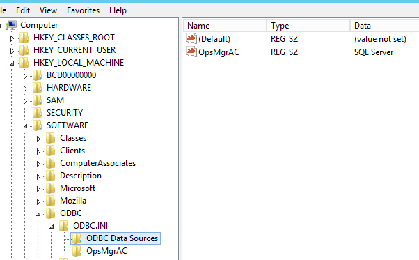 ODBC Data Sources subkey