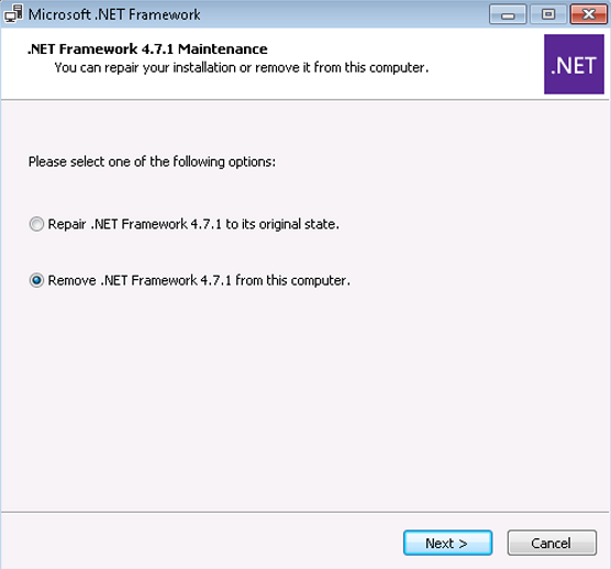 Remove .NET Framework 4.7.1 from this computer