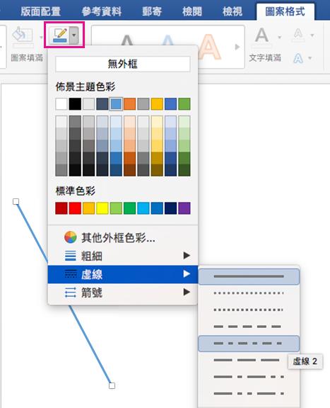 [圖形格式] 索引標籤上醒目提示 [圖案外框] 及 [虛線] 功能表。